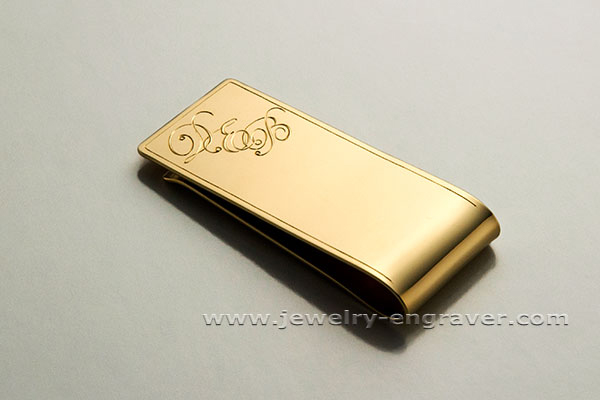 #307 - Engraved Three Initials on a Money clip.